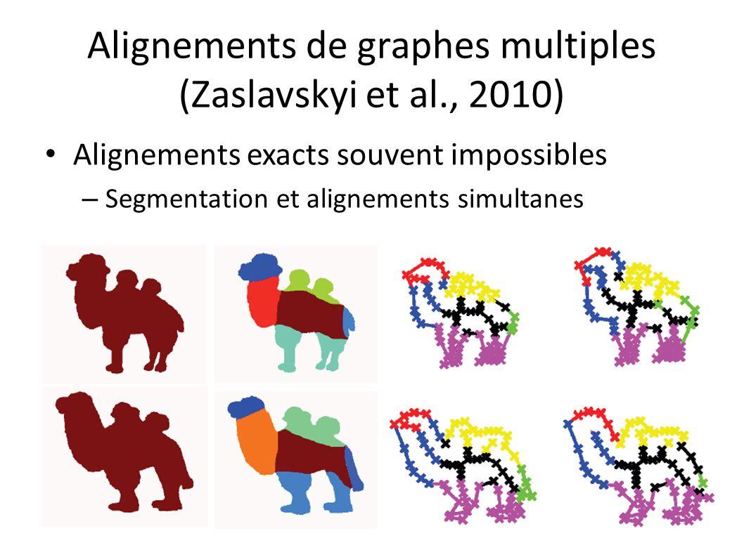 Alignements de graphes multiples (Zaslavskyi et al., 2010) Alignements exacts souvent impossibles – Segmentation et alignements simultanes