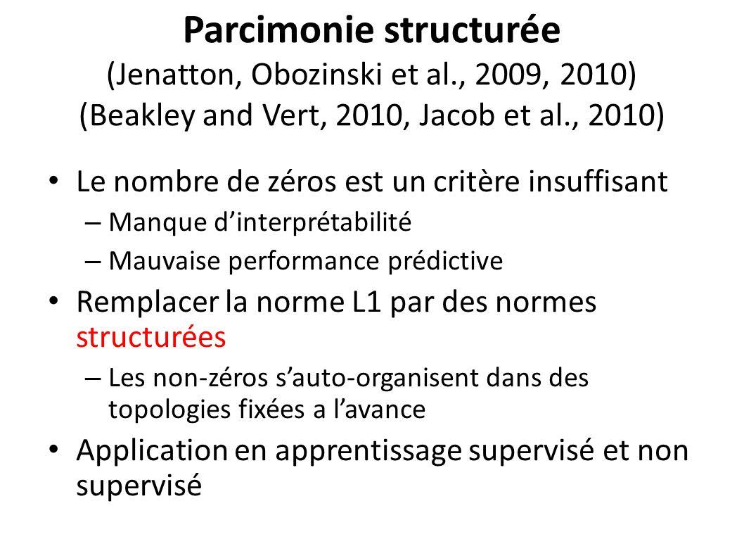Parcimonie structurée (Jenatton, Obozinski et al., 2009, 2010) (Beakley and Vert, 2010, Jacob et al., 2010) Le nombre de zéros est un critère insuffisant – Manque dinterprétabilité – Mauvaise performance prédictive Remplacer la norme L1 par des normes structurées – Les non-zéros sauto-organisent dans des topologies fixées a lavance Application en apprentissage supervisé et non supervisé