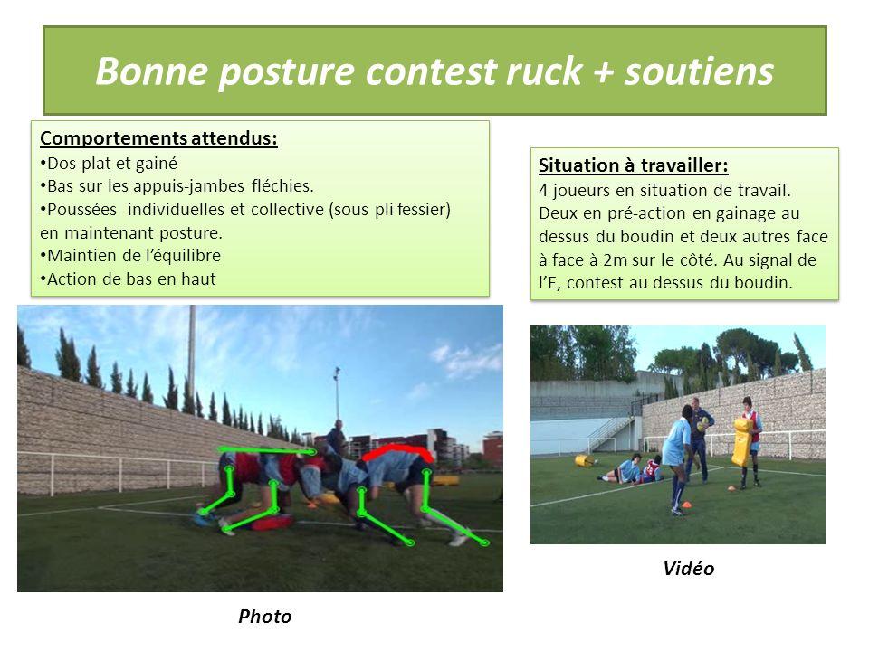 Bonne posture contest ruck + soutiens Comportements attendus: Dos plat et gainé Bas sur les appuis-jambes fléchies.