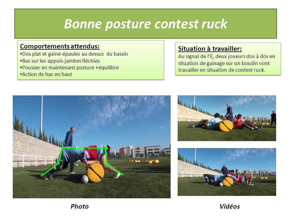 Bonne posture contest ruck Comportements attendus: Dos plat et gainé-épaules au dessus du bassin Bas sur les appuis-jambes fléchies.