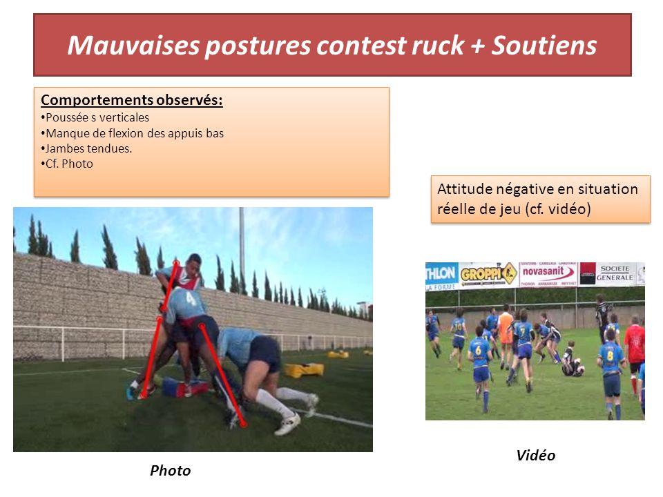 Mauvaises postures contest ruck + Soutiens Comportements observés: Poussée s verticales Manque de flexion des appuis bas Jambes tendues.