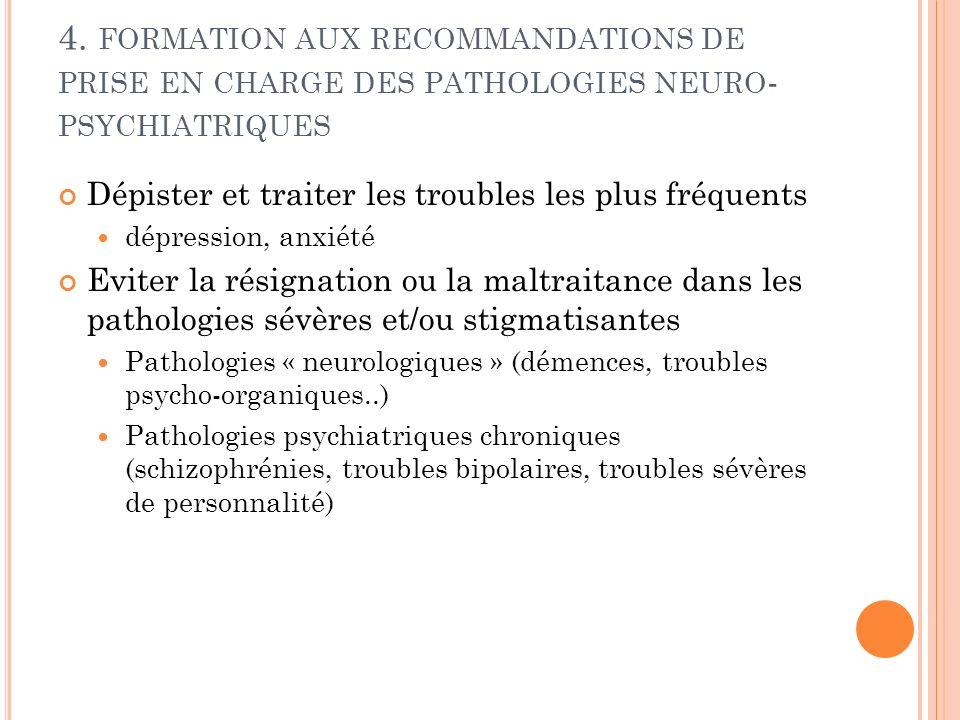 4. FORMATION AUX RECOMMANDATIONS DE PRISE EN CHARGE DES PATHOLOGIES NEURO - PSYCHIATRIQUES Dépister et traiter les troubles les plus fréquents dépress