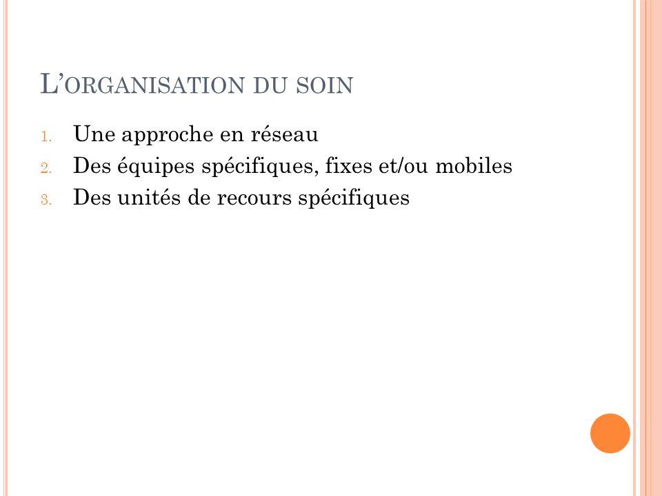 L ORGANISATION DU SOIN 1. Une approche en réseau 2. Des équipes spécifiques, fixes et/ou mobiles 3. Des unités de recours spécifiques