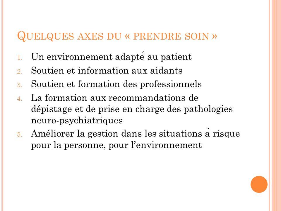 Q UELQUES AXES DU « PRENDRE SOIN » 1. Un environnement adapte au patient 2. Soutien et information aux aidants 3. Soutien et formation des professionn