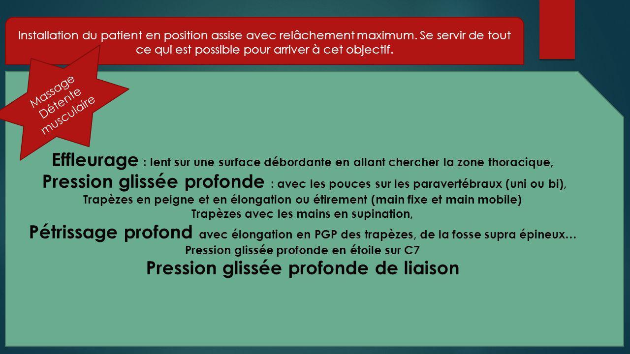 Si massage antalgique de la nuque, en plus : - Pression superficielle de watterwald de C7 allant vers le moignon de lépaule et manœuvre de Maurice autour de C7 D1.