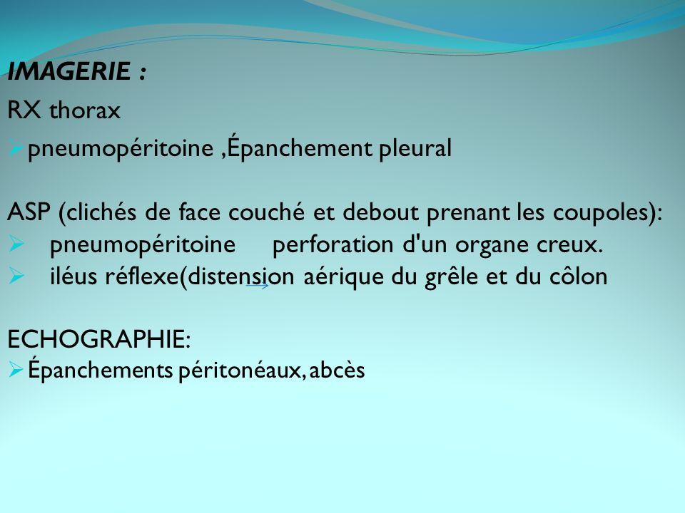 IMAGERIE : RX thorax pneumopéritoine,Épanchement pleural ASP (clichés de face couché et debout prenant les coupoles): pneumopéritoine perforation d un organe creux.