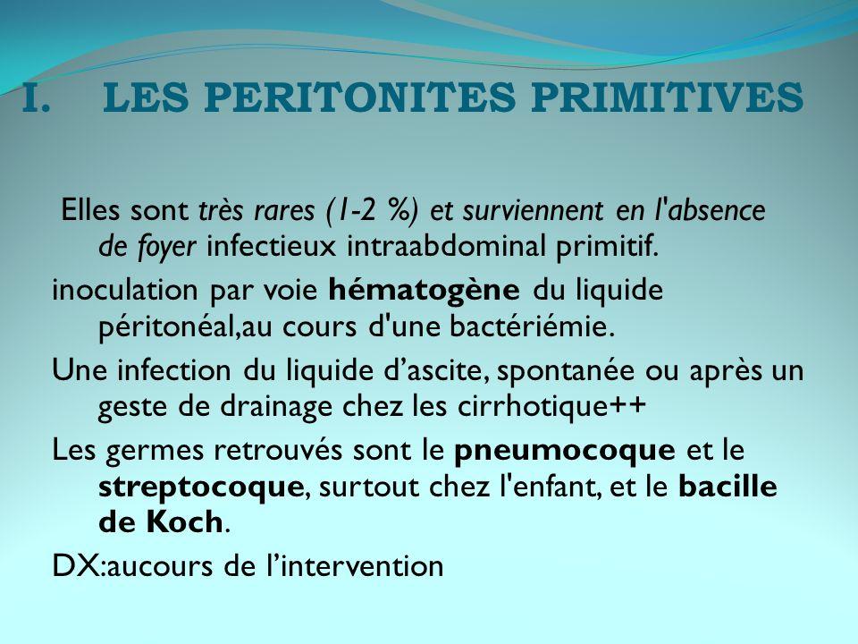 II.LES PERTONITES SECONDAIRES perforation d un organe creux (estomac,duodenum,grele et côlon), rupture d un abcès en péritoine libre (abcès appendiculaire, abcès périsigmoïdien, pyosalpinx,…) diffusion d un foyer infecté local (appendicite, salpingite, sigmoïdite, cholé-cystite...).