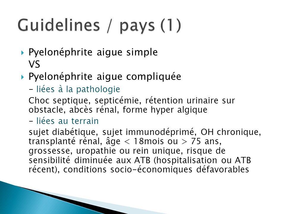Pyelonéphrite aigue simple VS Pyelonéphrite aigue compliquée - liées à la pathologie Choc septique, septicémie, rétention urinaire sur obstacle, abcès rénal, forme hyper algique - liées au terrain sujet diabétique, sujet immunodéprimé, OH chronique, transplanté rénal, âge 75 ans, grossesse, uropathie ou rein unique, risque de sensibilité diminuée aux ATB (hospitalisation ou ATB récent), conditions socio-économiques défavorables