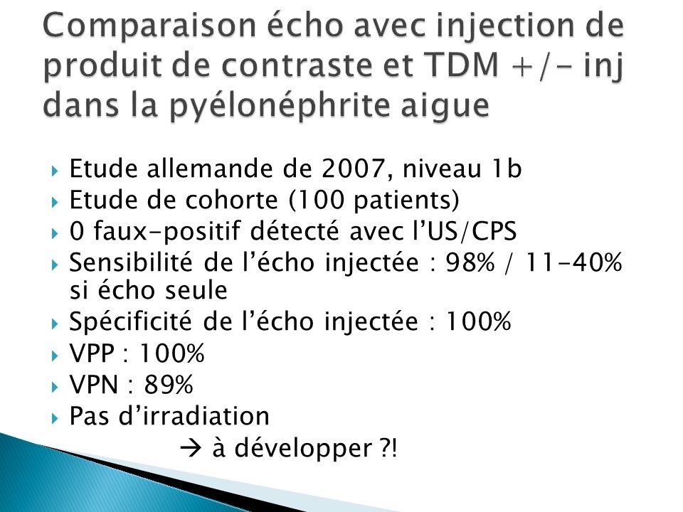 Etude allemande de 2007, niveau 1b Etude de cohorte (100 patients) 0 faux-positif détecté avec lUS/CPS Sensibilité de lécho injectée : 98% / 11-40% si écho seule Spécificité de lécho injectée : 100% VPP : 100% VPN : 89% Pas dirradiation à développer ?!