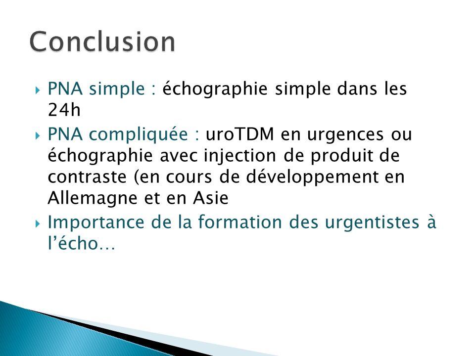 PNA simple : échographie simple dans les 24h PNA compliquée : uroTDM en urgences ou échographie avec injection de produit de contraste (en cours de développement en Allemagne et en Asie Importance de la formation des urgentistes à lécho…