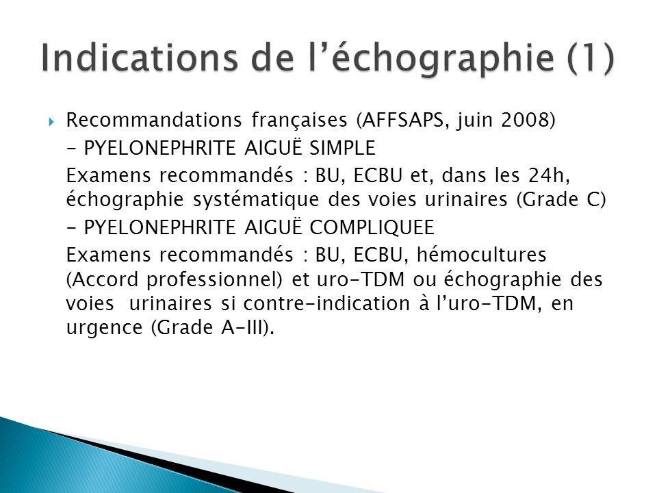 Recommandations françaises (AFFSAPS, juin 2008) - PYELONEPHRITE AIGUË SIMPLE Examens recommandés : BU, ECBU et, dans les 24h, échographie systématique des voies urinaires (Grade C) - PYELONEPHRITE AIGUË COMPLIQUEE Examens recommandés : BU, ECBU, hémocultures (Accord professionnel) et uro-TDM ou échographie des voies urinaires si contre-indication à luro-TDM, en urgence (Grade A-III).