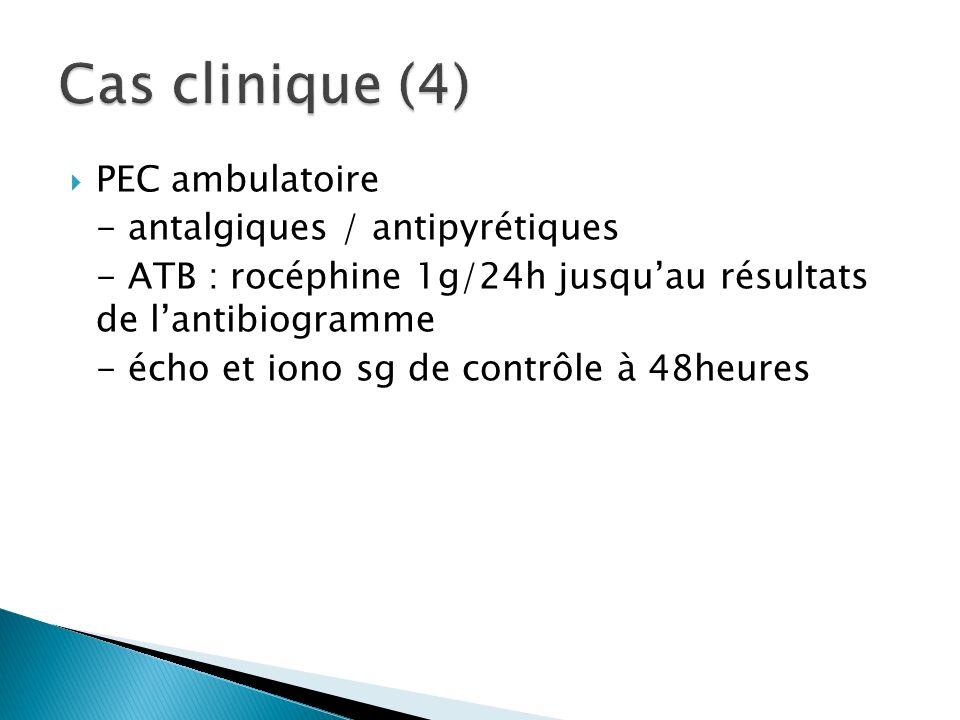 PEC ambulatoire - antalgiques / antipyrétiques - ATB : rocéphine 1g/24h jusquau résultats de lantibiogramme - écho et iono sg de contrôle à 48heures