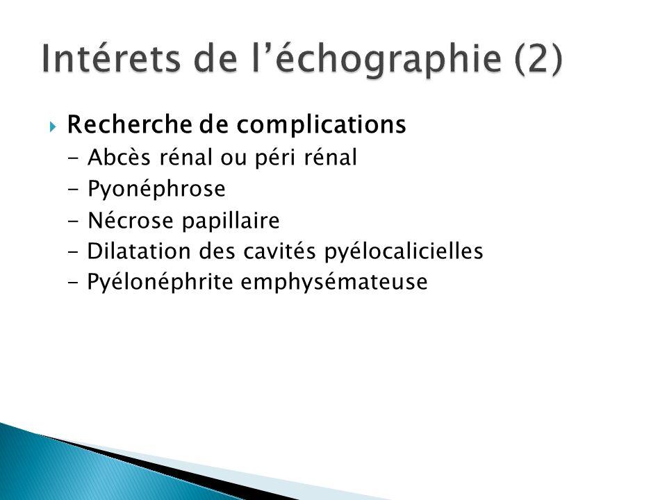 Recherche de complications - Abcès rénal ou péri rénal - Pyonéphrose - Nécrose papillaire - Dilatation des cavités pyélocalicielles - Pyélonéphrite emphysémateuse