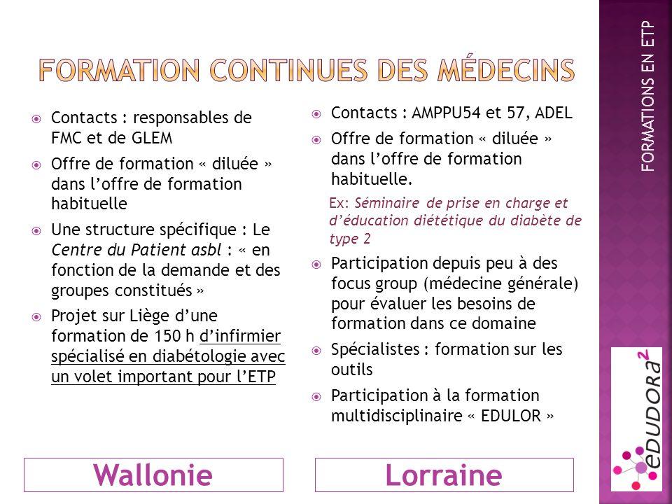 WallonieLorraine Contacts : responsables de FMC et de GLEM Offre de formation « diluée » dans loffre de formation habituelle Une structure spécifique : Le Centre du Patient asbl : « en fonction de la demande et des groupes constitués » Projet sur Liège dune formation de 150 h dinfirmier spécialisé en diabétologie avec un volet important pour lETP Contacts : AMPPU54 et 57, ADEL Offre de formation « diluée » dans loffre de formation habituelle.