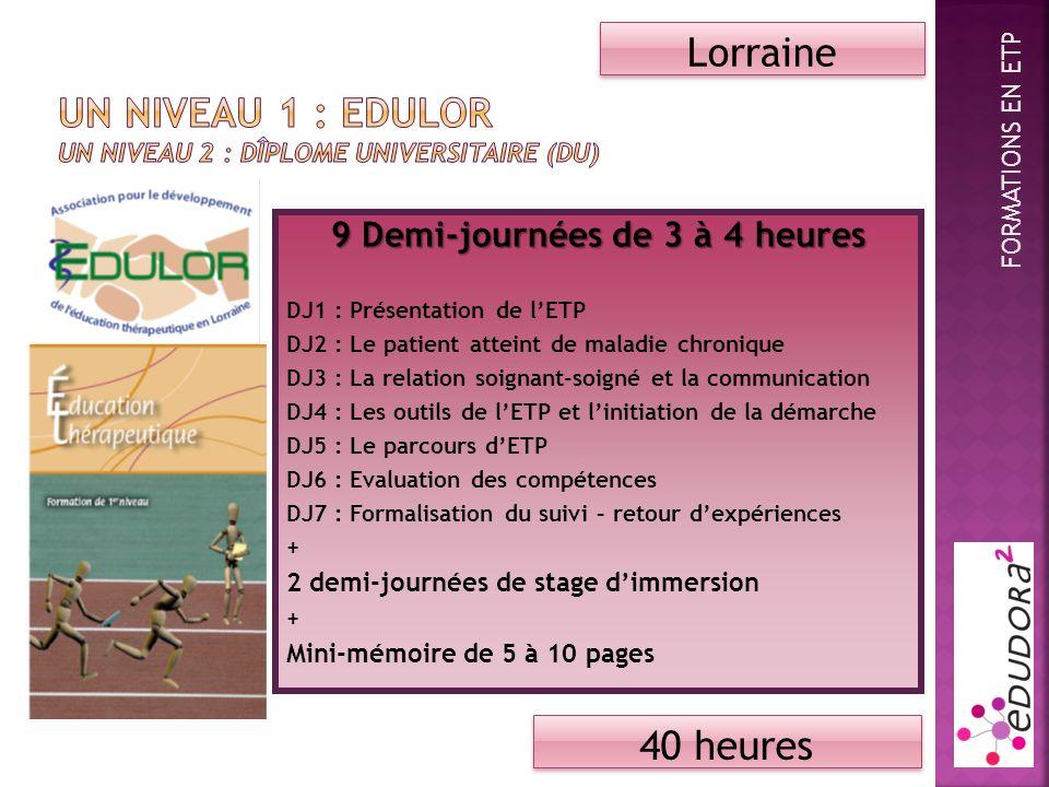 9 Demi-journées de 3 à 4 heures DJ1 : Présentation de lETP DJ2 : Le patient atteint de maladie chronique DJ3 : La relation soignant-soigné et la communication DJ4 : Les outils de lETP et linitiation de la démarche DJ5 : Le parcours dETP DJ6 : Evaluation des compétences DJ7 : Formalisation du suivi – retour dexpériences + 2 demi-journées de stage dimmersion + Mini-mémoire de 5 à 10 pages Lorraine 40 heures FORMATIONS EN ETP