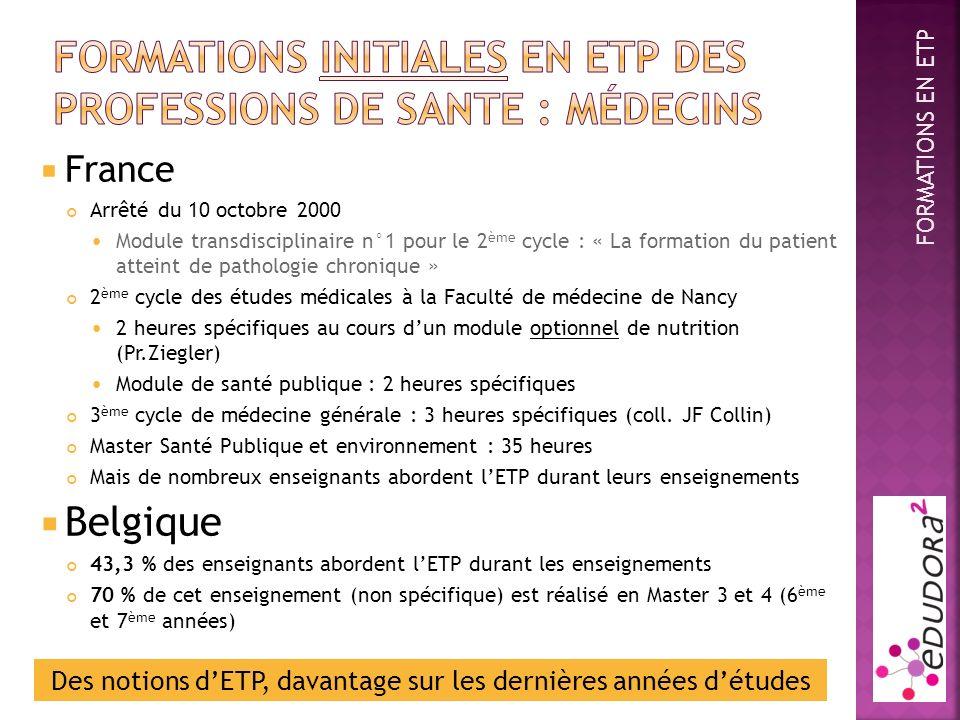 France Arrêté du 10 octobre 2000 Module transdisciplinaire n°1 pour le 2 ème cycle : « La formation du patient atteint de pathologie chronique » 2 ème