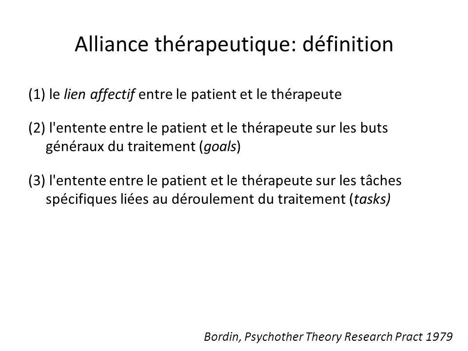 Bordin, Psychother Theory Research Pract 1979 Alliance thérapeutique: définition (1) le lien affectif entre le patient et le thérapeute (2) l entente entre le patient et le thérapeute sur les buts généraux du traitement (goals) (3) l entente entre le patient et le thérapeute sur les tâches spécifiques liées au déroulement du traitement (tasks)