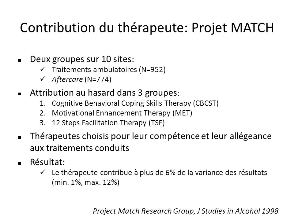 Contribution du thérapeute: Projet MATCH Deux groupes sur 10 sites: Traitements ambulatoires (N=952) Aftercare (N=774) Attribution au hasard dans 3 groupes : 1.Cognitive Behavioral Coping Skills Therapy (CBCST) 2.Motivational Enhancement Therapy (MET) 3.12 Steps Facilitation Therapy (TSF) Thérapeutes choisis pour leur compétence et leur allégeance aux traitements conduits Résultat: Le thérapeute contribue à plus de 6% de la variance des résultats (min.