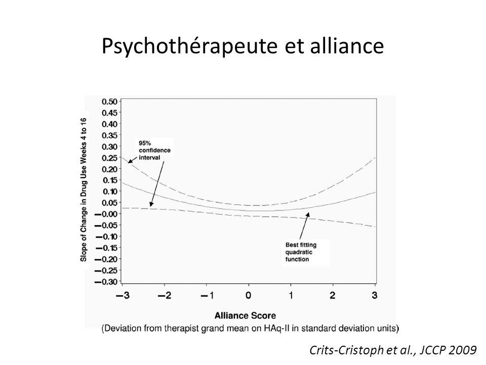 Psychothérapeute et alliance Crits-Cristoph et al., JCCP 2009