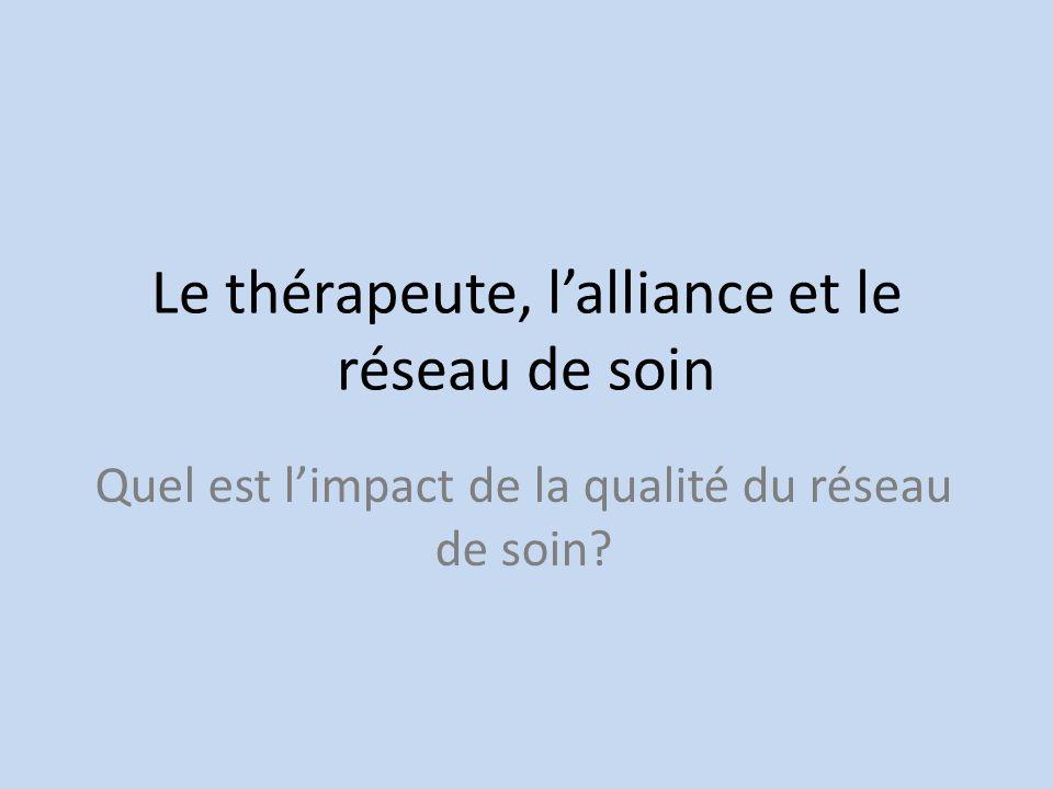 Le thérapeute, lalliance et le réseau de soin Quel est limpact de la qualité du réseau de soin