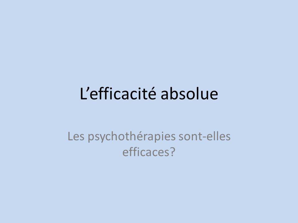 Lefficacité absolue Les psychothérapies sont-elles efficaces