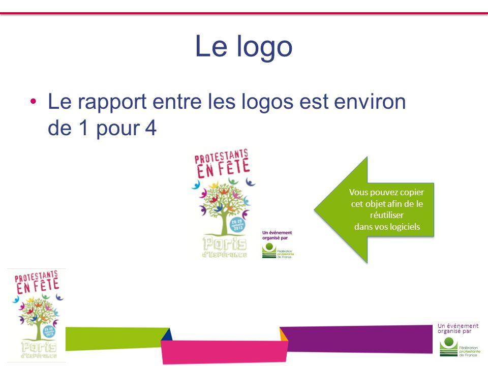 Un événement organisé par Le logo Le rapport entre les logos est environ de 1 pour 4 Vous pouvez copier cet objet afin de le réutiliser dans vos logic