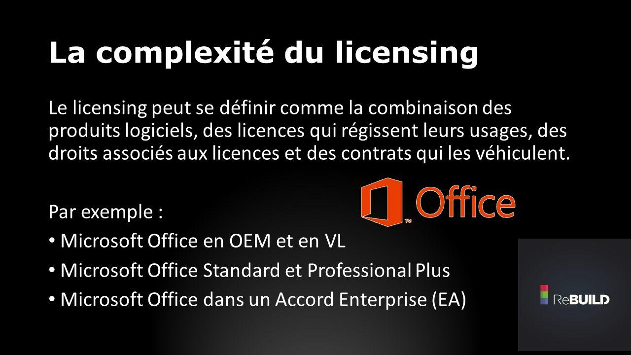 La complexité du licensing Le licensing peut se définir comme la combinaison des produits logiciels, des licences qui régissent leurs usages, des droits associés aux licences et des contrats qui les véhiculent.