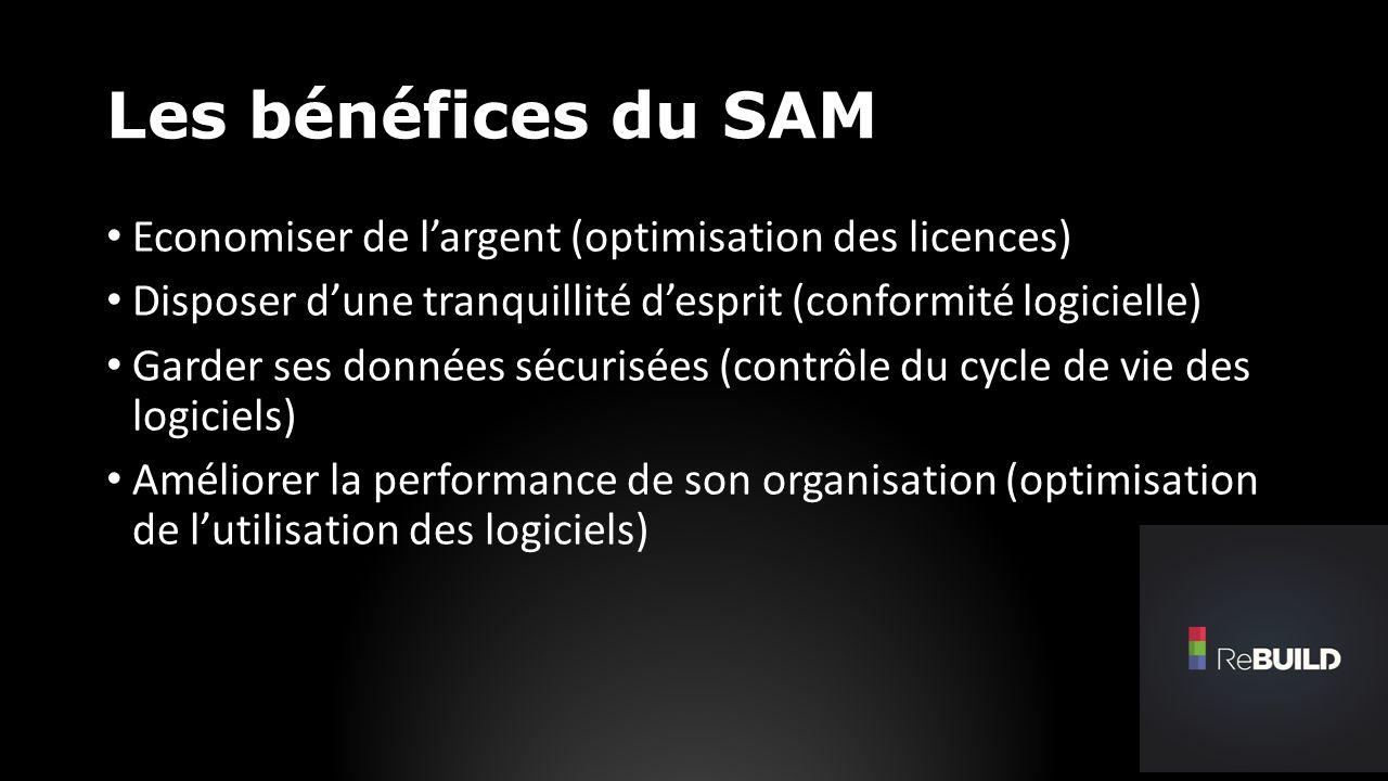 Les bénéfices du SAM Economiser de largent (optimisation des licences) Disposer dune tranquillité desprit (conformité logicielle) Garder ses données sécurisées (contrôle du cycle de vie des logiciels) Améliorer la performance de son organisation (optimisation de lutilisation des logiciels)