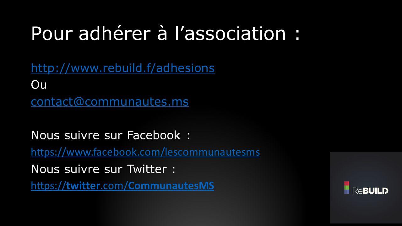 Pour adhérer à lassociation : http://www.rebuild.f/adhesions Ou contact@communautes.ms Nous suivre sur Facebook : https://www.facebook.com/lescommunautesms Nous suivre sur Twitter : https://twitter.com/CommunautesMS