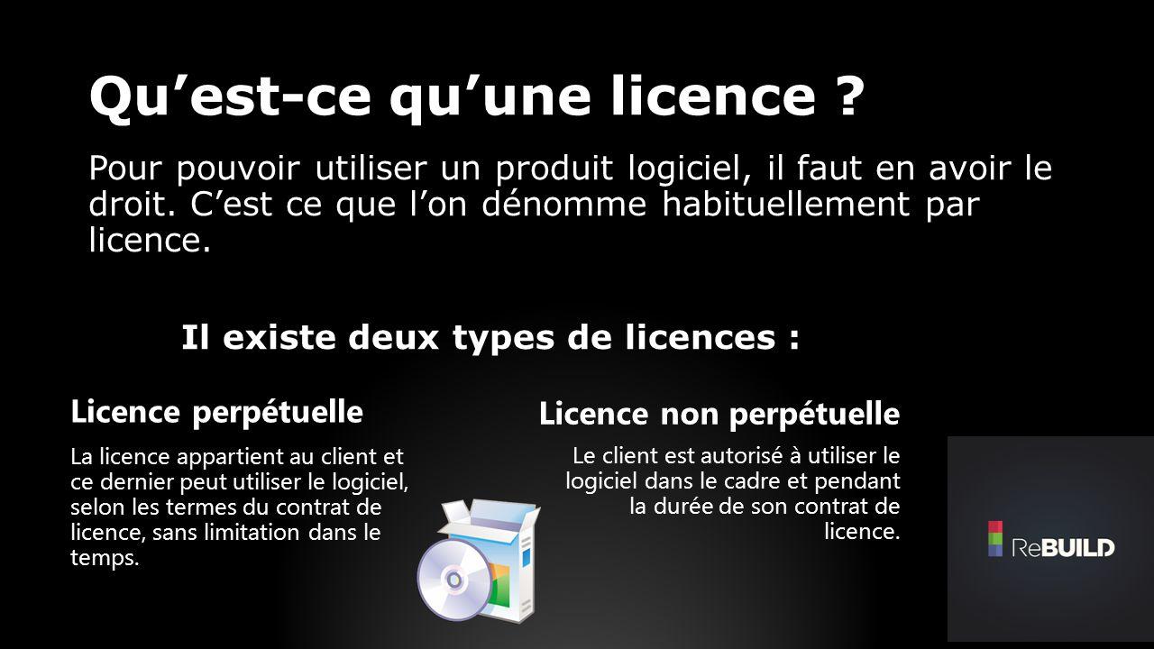 Quest-ce quune licence . Pour pouvoir utiliser un produit logiciel, il faut en avoir le droit.