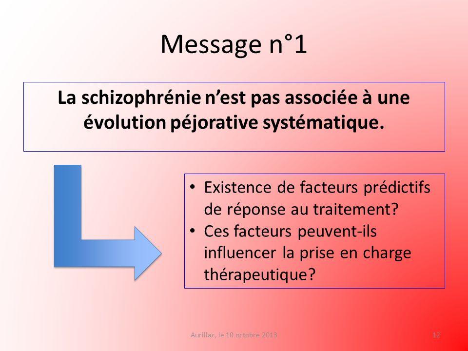 Message n°1 La schizophrénie nest pas associée à une évolution péjorative systématique. Aurillac, le 10 octobre 201312 Existence de facteurs prédictif