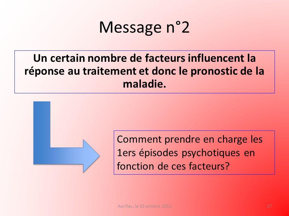 Message n°2 Un certain nombre de facteurs influencent la réponse au traitement et donc le pronostic de la maladie. Aurillac, le 10 octobre 201317 Comm