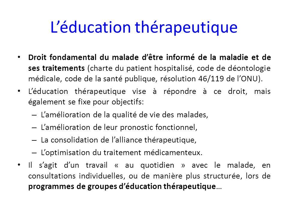 Léducation thérapeutique Droit fondamental du malade dêtre informé de la maladie et de ses traitements (charte du patient hospitalisé, code de déontol