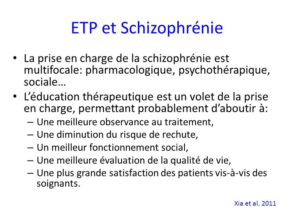 ETP et Schizophrénie La prise en charge de la schizophrénie est multifocale: pharmacologique, psychothérapique, sociale… Léducation thérapeutique est