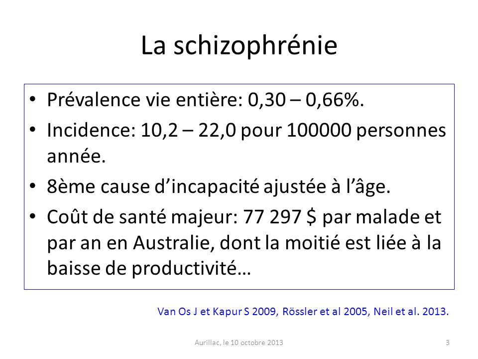 La schizophrénie Prévalence vie entière: 0,30 – 0,66%. Incidence: 10,2 – 22,0 pour 100000 personnes année. 8ème cause dincapacité ajustée à lâge. Coût
