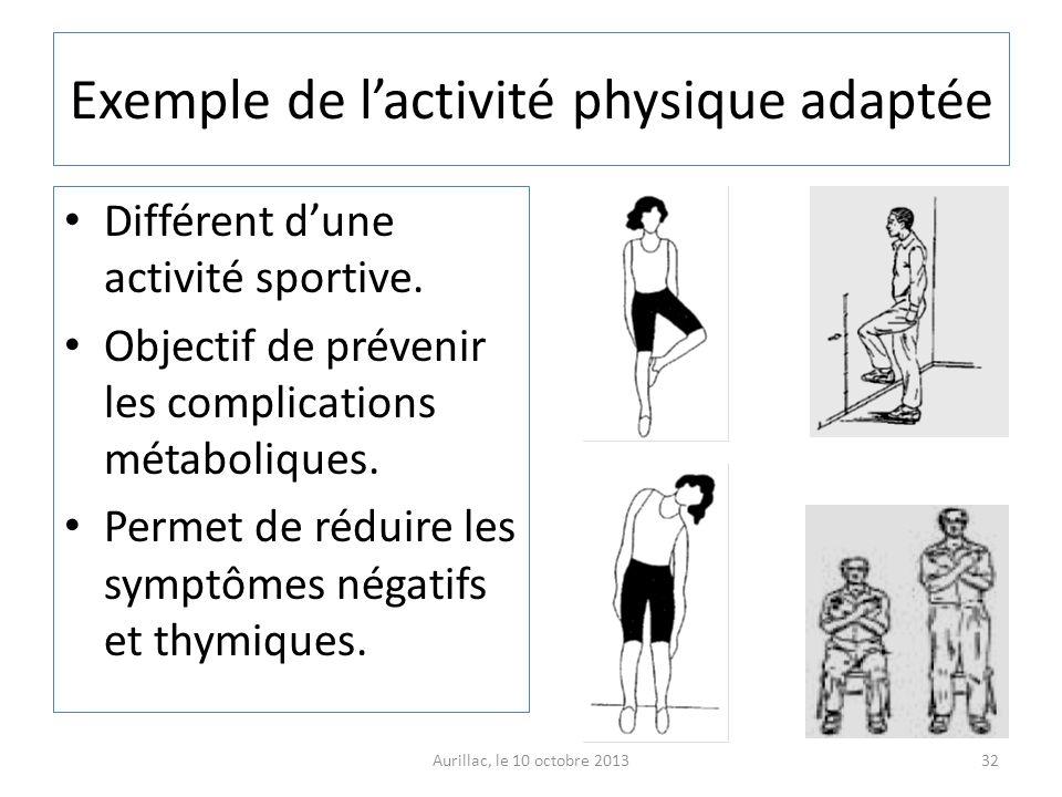 Exemple de lactivité physique adaptée Différent dune activité sportive. Objectif de prévenir les complications métaboliques. Permet de réduire les sym