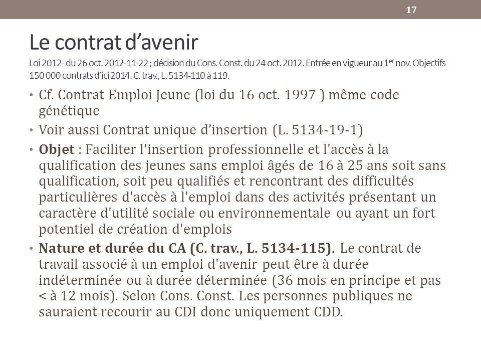 Le contrat davenir Loi 2012- du 26 oct. 2012-11-22 ; décision du Cons. Const. du 24 oct. 2012. Entrée en vigueur au 1 er nov. Objectifs 150 000 contra