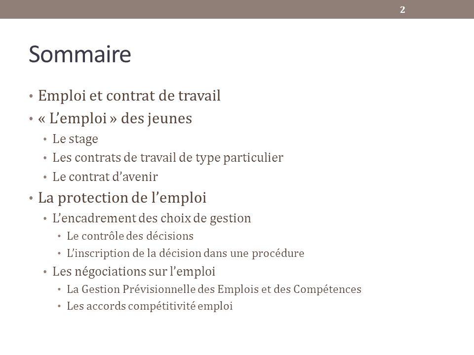 Sommaire Emploi et contrat de travail « Lemploi » des jeunes Le stage Les contrats de travail de type particulier Le contrat davenir La protection de