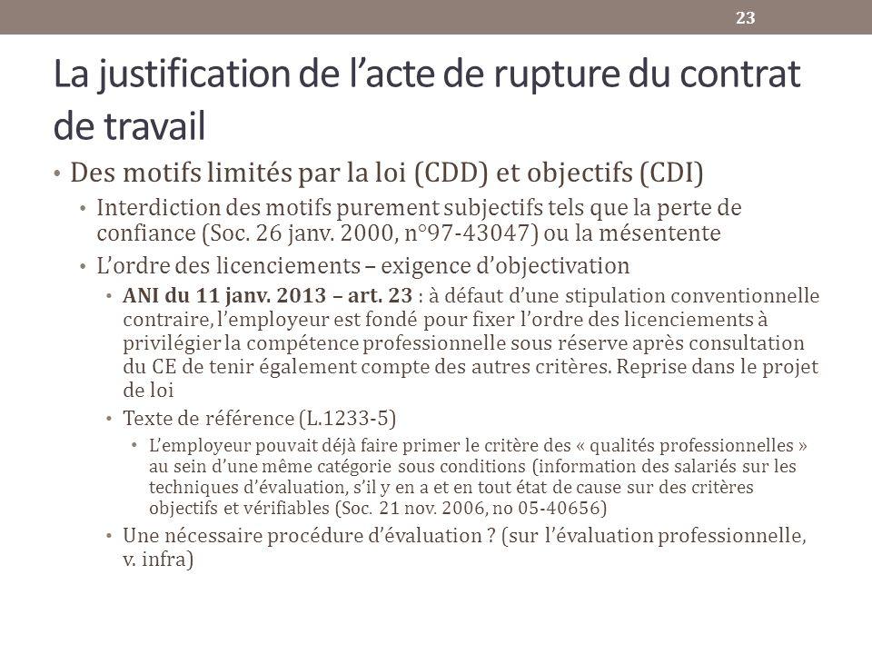 La justification de lacte de rupture du contrat de travail Des motifs limités par la loi (CDD) et objectifs (CDI) Interdiction des motifs purement sub