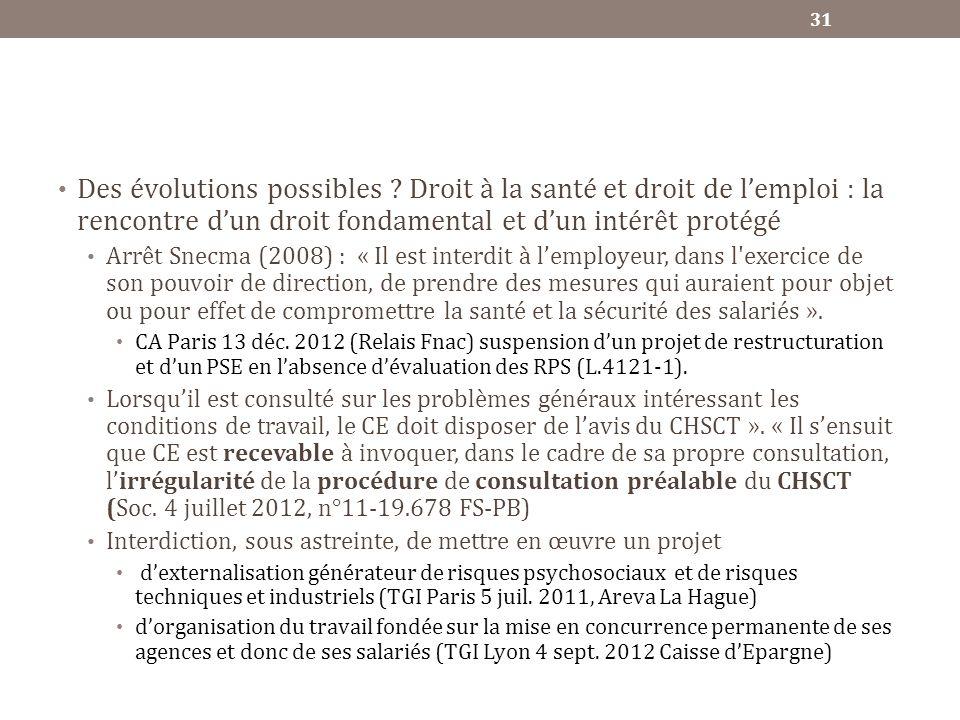 Des évolutions possibles ? Droit à la santé et droit de lemploi : la rencontre dun droit fondamental et dun intérêt protégé Arrêt Snecma (2008) : « Il