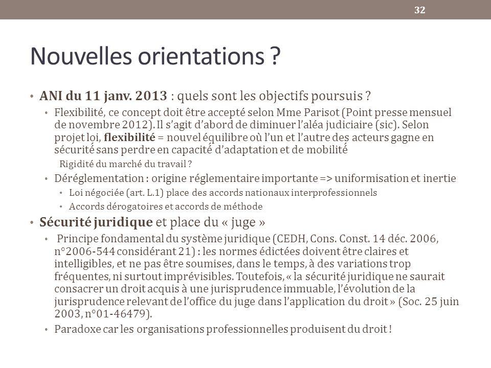 Nouvelles orientations ? ANI du 11 janv. 2013 : quels sont les objectifs poursuis ? Flexibilité, ce concept doit être accepté selon Mme Parisot (Point