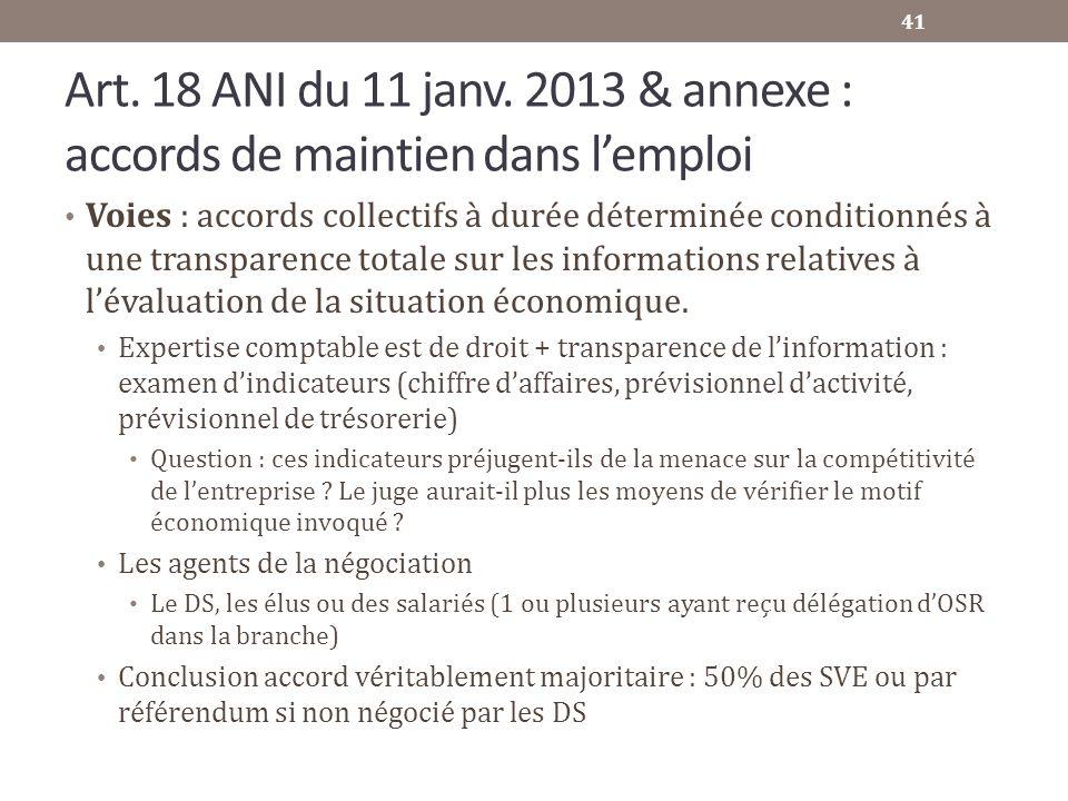 Art. 18 ANI du 11 janv. 2013 & annexe : accords de maintien dans lemploi Voies : accords collectifs à durée déterminée conditionnés à une transparence