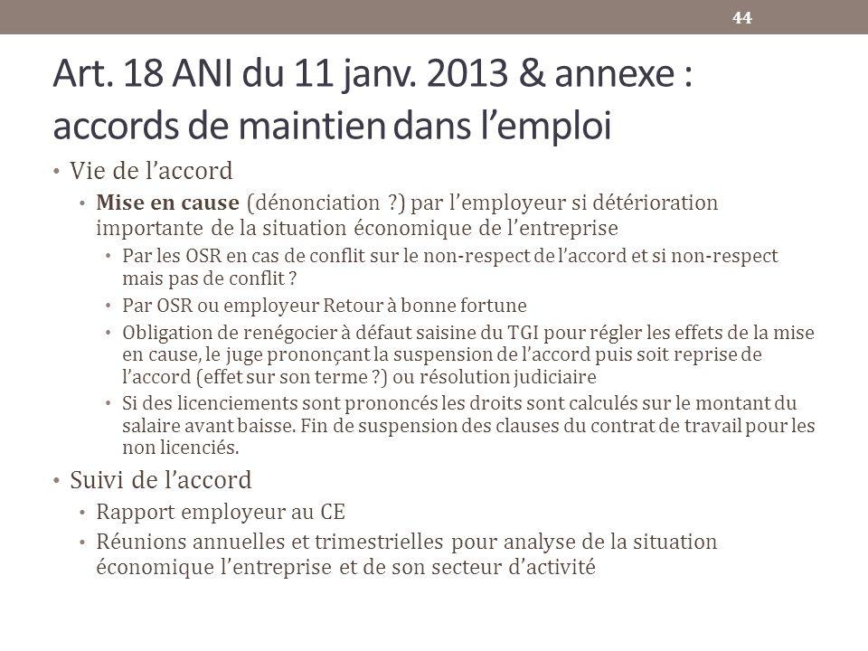 Art. 18 ANI du 11 janv. 2013 & annexe : accords de maintien dans lemploi Vie de laccord Mise en cause (dénonciation ?) par lemployeur si détérioration