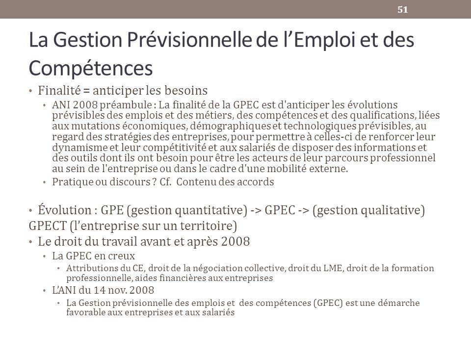 La Gestion Prévisionnelle de lEmploi et des Compétences Finalité = anticiper les besoins ANI 2008 préambule : La finalité de la GPEC est d'anticiper l