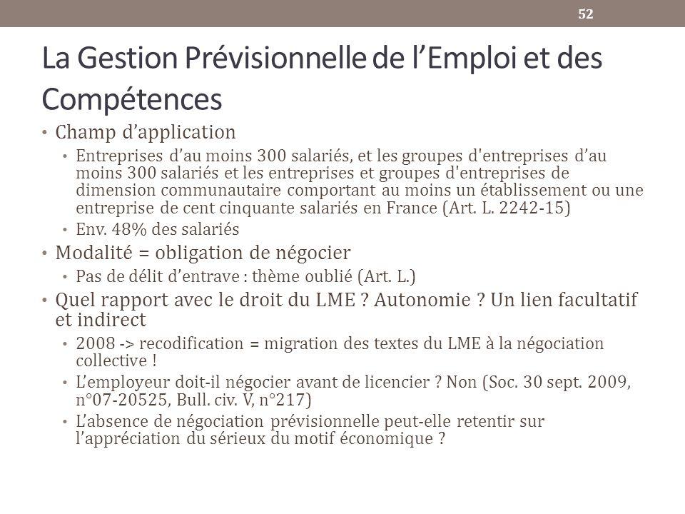 La Gestion Prévisionnelle de lEmploi et des Compétences Champ dapplication Entreprises dau moins 300 salariés, et les groupes d'entreprises dau moins