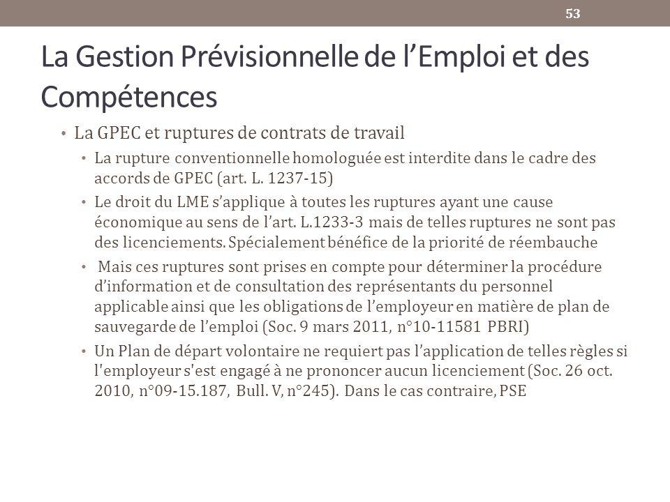 La Gestion Prévisionnelle de lEmploi et des Compétences La GPEC et ruptures de contrats de travail La rupture conventionnelle homologuée est interdite