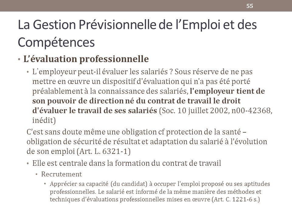 La Gestion Prévisionnelle de lEmploi et des Compétences Lévaluation professionnelle L employeur peut-il évaluer les salariés ? Sous réserve de ne pas