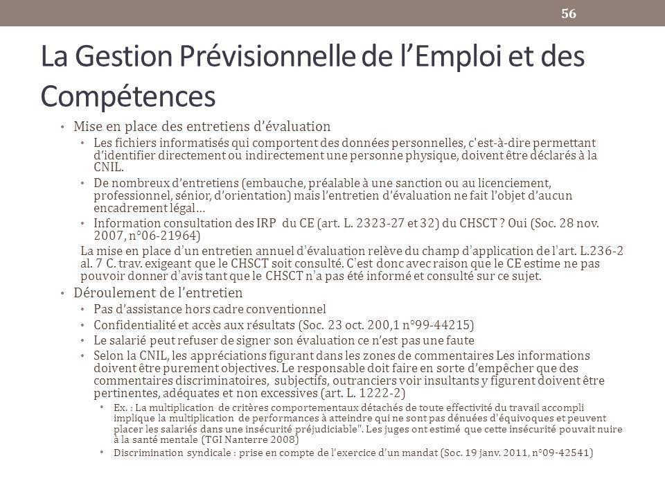 La Gestion Prévisionnelle de lEmploi et des Compétences Mise en place des entretiens dévaluation Les fichiers informatisés qui comportent des données