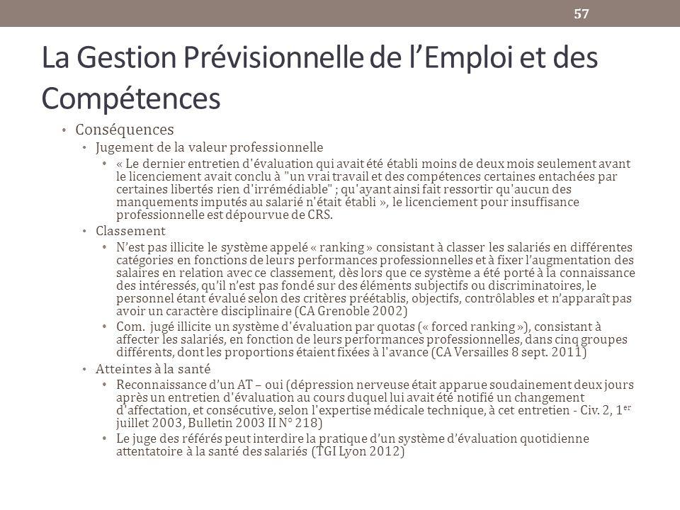 La Gestion Prévisionnelle de lEmploi et des Compétences Conséquences Jugement de la valeur professionnelle « Le dernier entretien d'évaluation qui ava