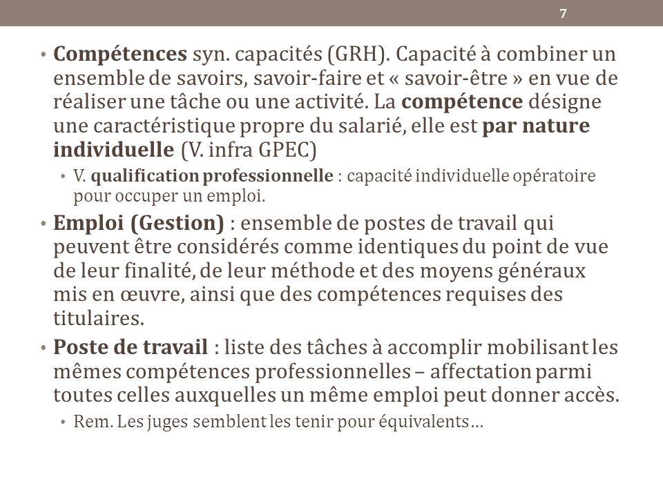 Compétences syn. capacités (GRH). Capacité à combiner un ensemble de savoirs, savoir-faire et « savoir-être » en vue de réaliser une tâche ou une acti